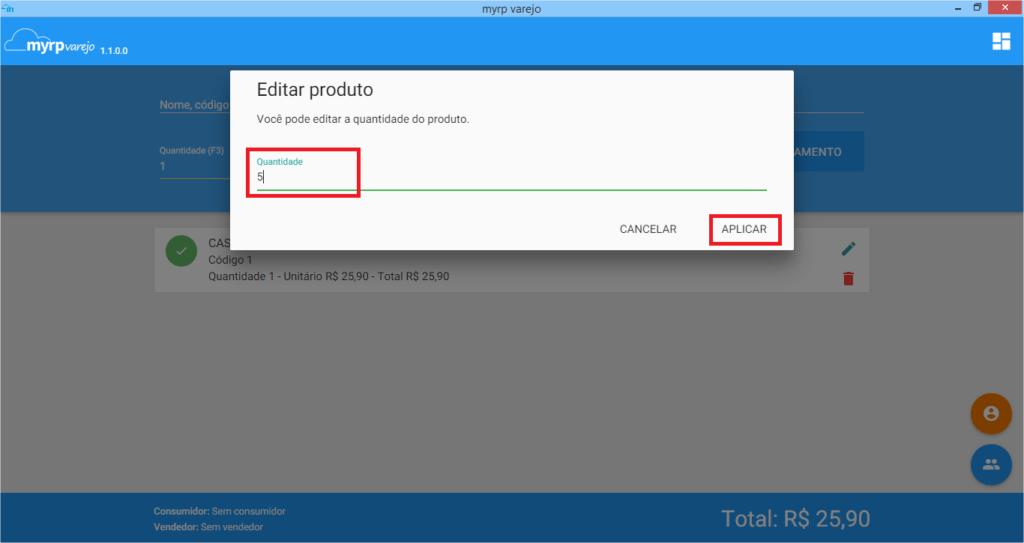 PDV - Nova venda - editar produto tela