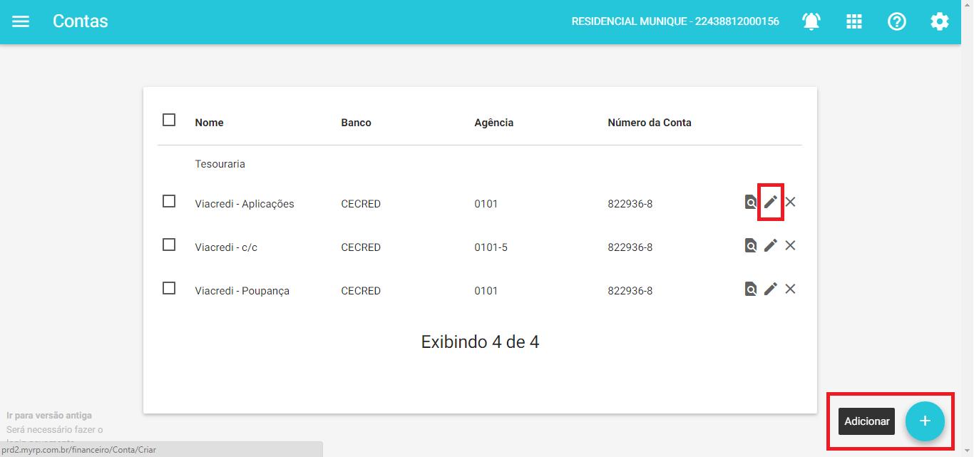 Financeiro - Adicionar contas