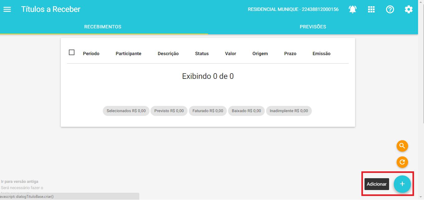 Financeiro - Adicionar Titulos a Receber