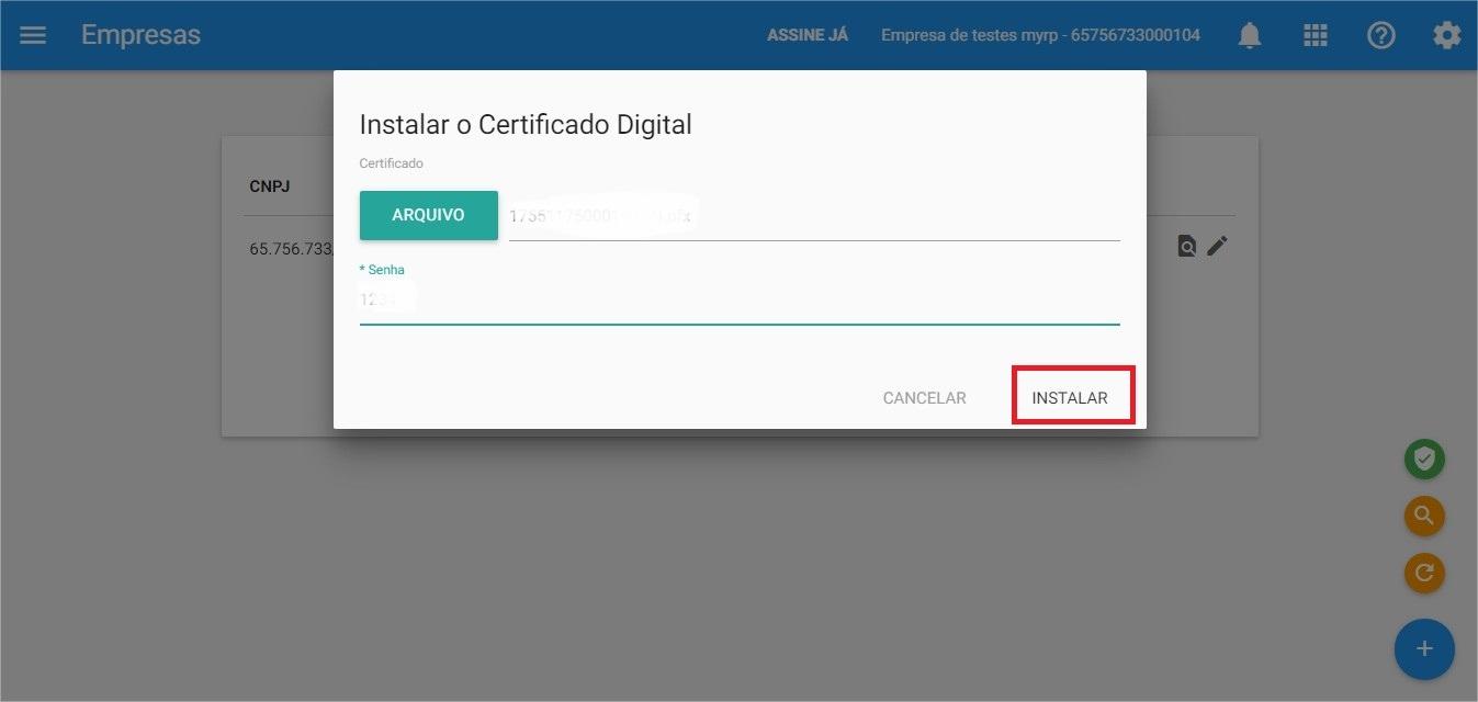 Certificado - Instalar