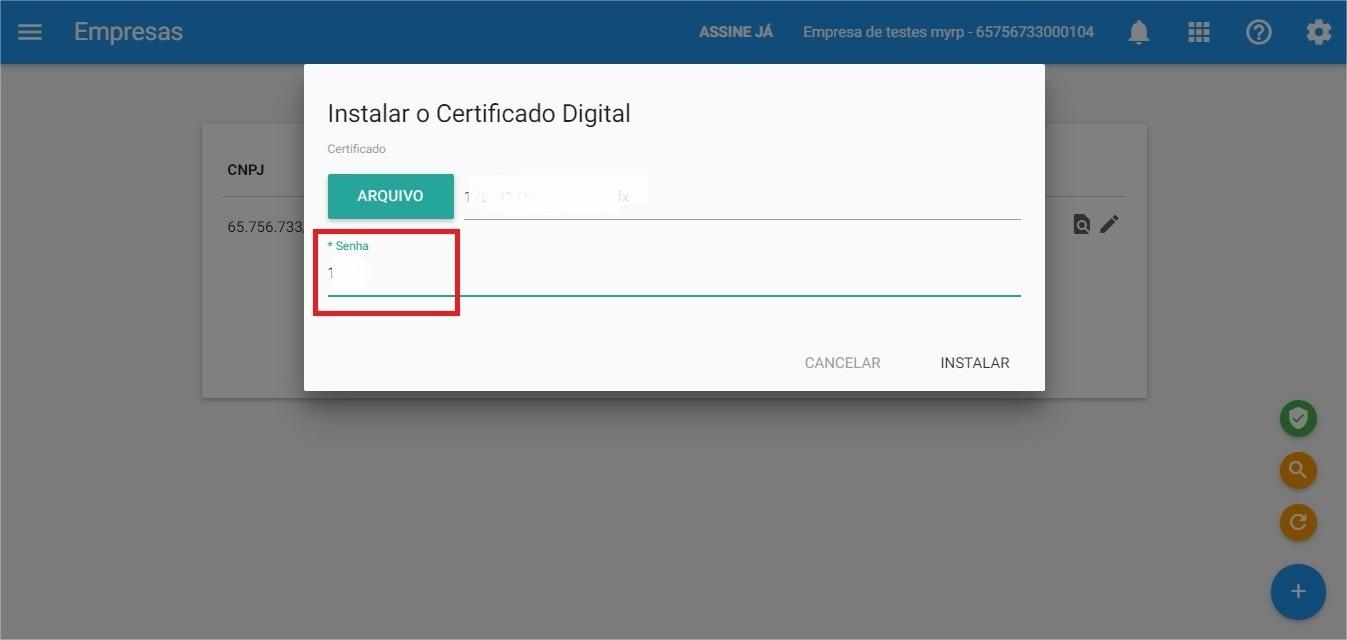 Certificado - Senha