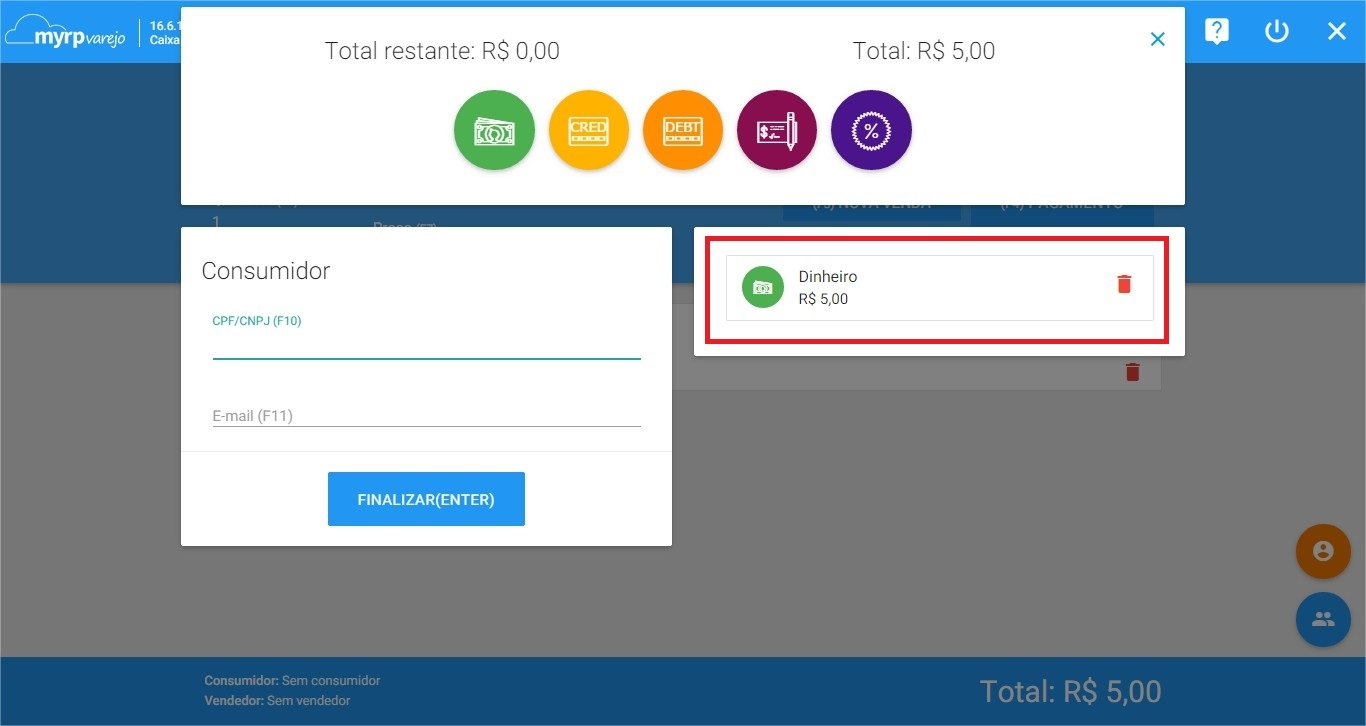 PDV - Nova venda - Pagamento - enter