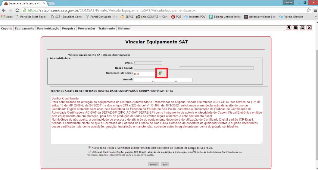 SAT - Acesso SEFAZ - Numero de serie Add