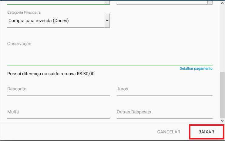 Financeiro - Titulo a pagar - Baixar - Baixar