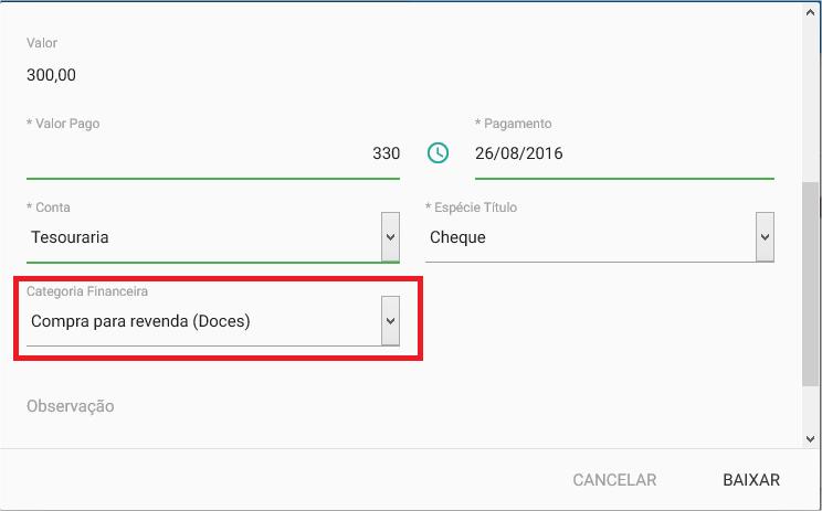 Financeiro - Titulo a pagar - Baixar - Categoria