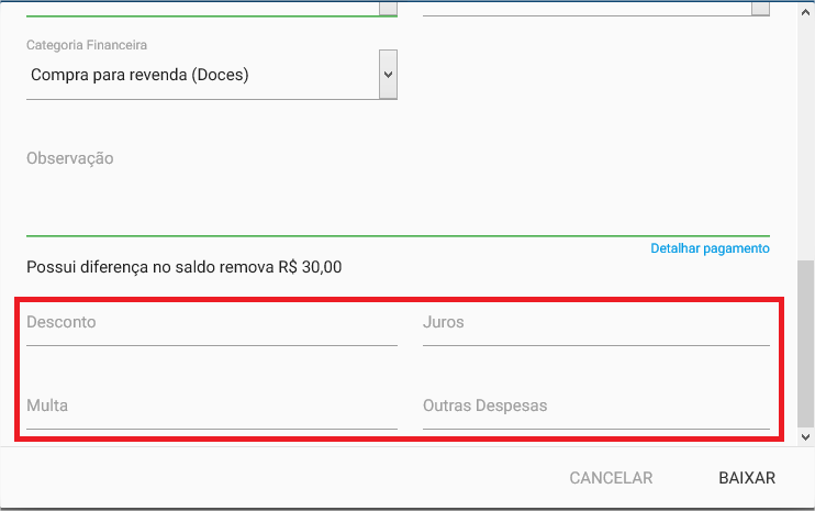Financeiro - Titulo a pagar - Baixar - Detalhar