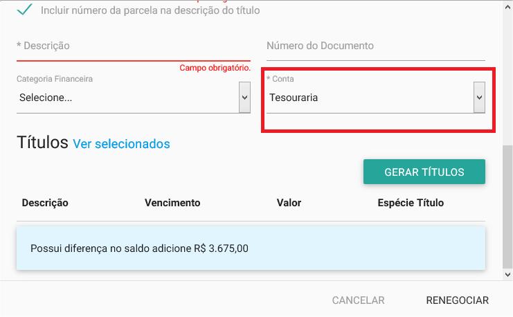 Financeiro - Titulo a pagar - Renegociação - Conta