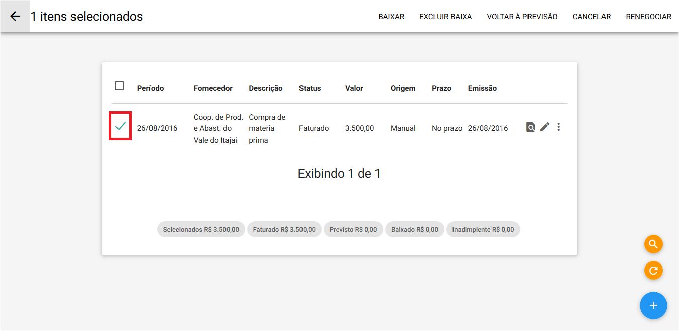 Financeiro - Titulo a pagar - Renegociação - Selecao
