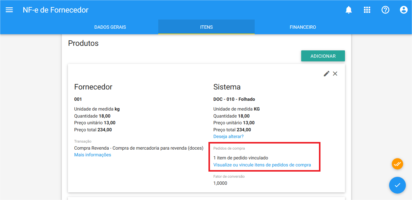 Compras - Pedido de compra - Vinculo NF-e - Ok