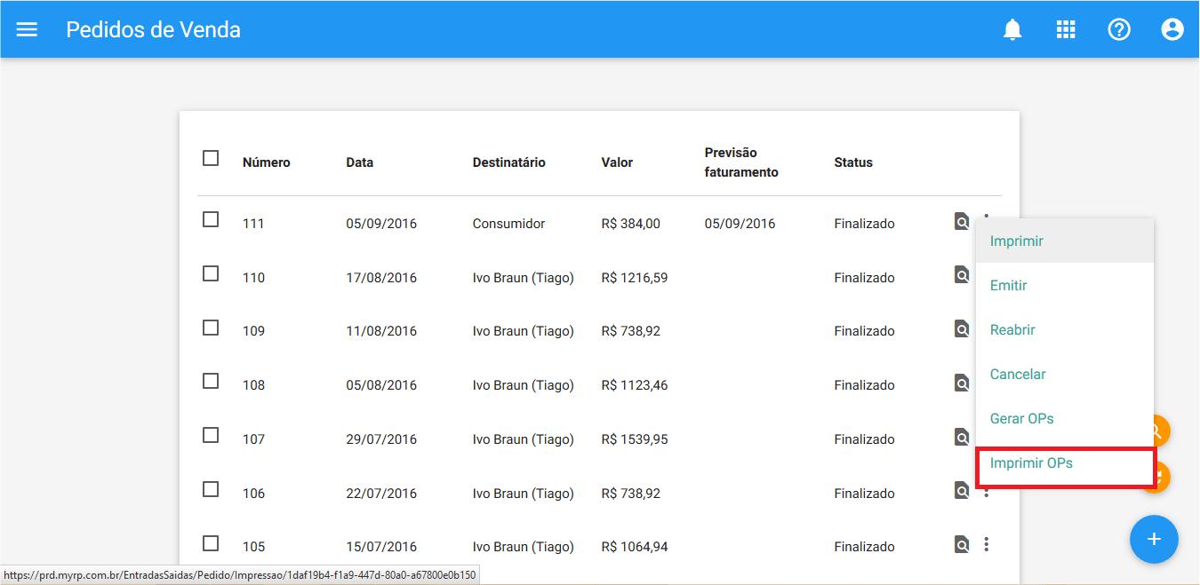 Pedido de venda - Imprimir OPs